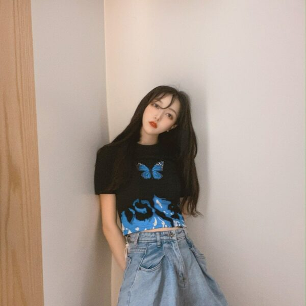 Blue Flames Butterfly Aesthetic Crop Top 2- Orezoria Aesthetic Outfits Shop - Aesthetic Clothing - eGirl Outfits - Soft Girl Outfits