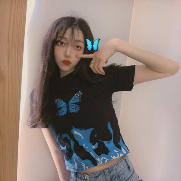 Blue Flames Butterfly Aesthetic Crop Top 3- Orezoria Aesthetic Outfits Shop - Aesthetic Clothing - eGirl Outfits - Soft Girl Outfits