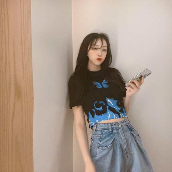 Blue Flames Butterfly Aesthetic Crop Top 4- Orezoria Aesthetic Outfits Shop - Aesthetic Clothing - eGirl Outfits - Soft Girl Outfits