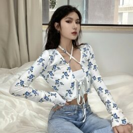 Blue Flowers Pattern Neck Laced Top 2 - Orezoria Aesthetic Outfits Shop - Aesthetic Clothing - eGirl Outfits - Soft Girl Outfits.psd
