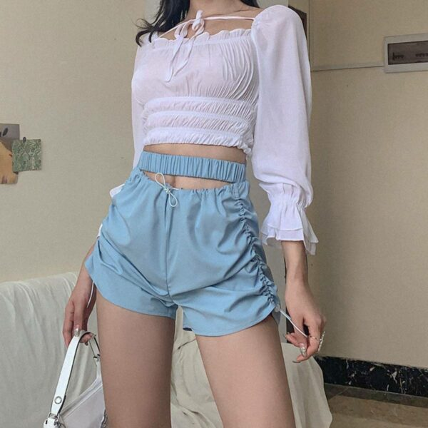 Blue Hollow High Waist Shorts.1- Orezoria Aesthetic Outfits Shop - Aesthetic Clothing - eGirl Outfits - Soft Girl Outfits