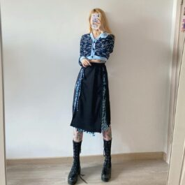 Blue Leopard Layered Knee Long Skirt.1- Orezoria Aesthetic Outfits Shop - Aesthetic Clothing - eGirl Outfits - Soft Girl Outfits