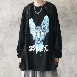 Blue Sphynx Cat God Loose Long Sleeve 1 - Orezoria Aesthetic Outfits Shop - Aesthetic Clothing - eGirl Outfits - Soft Girl Outfits