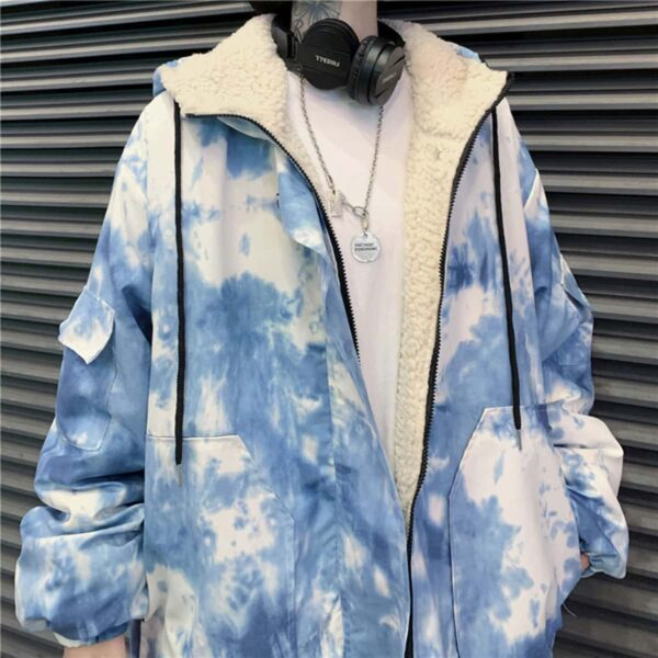 Blue and White Tie Dye Aesthetic Jacket.1- Orezoria Aesthetic Outfits Shop - Aesthetic Clothing - eGirl Outfits - Soft Girl Outfits
