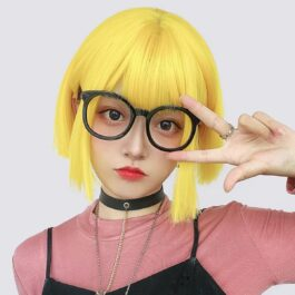 Bob Hair Straight Bang Yellow Wig (1)- Orezoria Aesthetic Outfits Shop - Aesthetic Clothing - eGirl Outfits - Soft Girl Outfits
