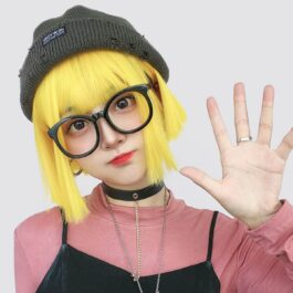 Bob Hair Straight Bang Yellow Wig (2)- Orezoria Aesthetic Outfits Shop - Aesthetic Clothing - eGirl Outfits - Soft Girl Outfits