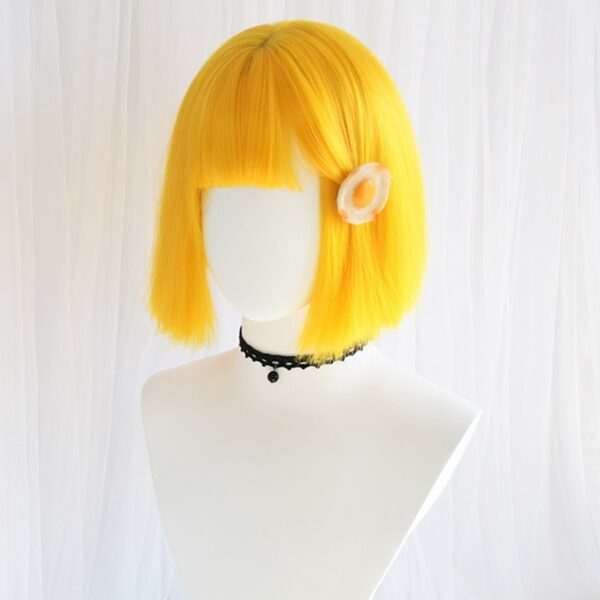 Bob Hair Straight Bang Yellow Wig (3)- Orezoria Aesthetic Outfits Shop - Aesthetic Clothing - eGirl Outfits - Soft Girl Outfits