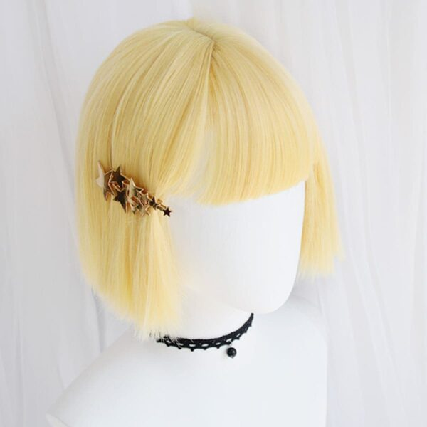 Bob Hair Straight Bang Yellow Wig (4)- Orezoria Aesthetic Outfits Shop - Aesthetic Clothing - eGirl Outfits - Soft Girl Outfits