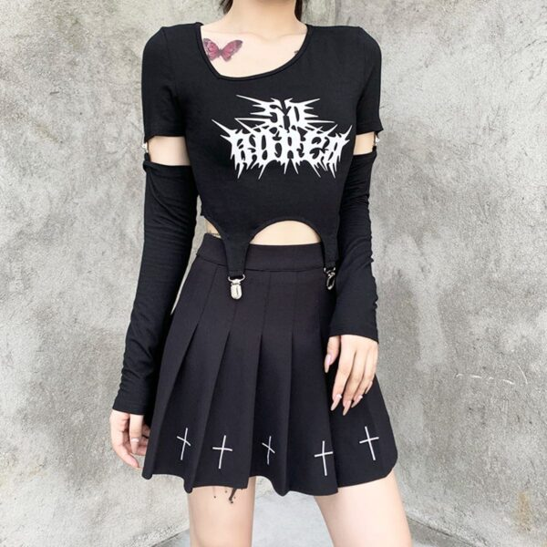 Bored Black Grunge Core Split Sleeve Top 2- Orezoria Aesthetic Outfits Shop - Aesthetic Clothing - eGirl Outfits - Soft Girl Outfits