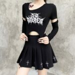 Bored Black Grunge Core Split Sleeve Top 4- Orezoria Aesthetic Outfits Shop - Aesthetic Clothing - eGirl Outfits - Soft Girl Outfits