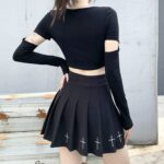 Bored Black Grunge Core Split Sleeve Top 5- Orezoria Aesthetic Outfits Shop - Aesthetic Clothing - eGirl Outfits - Soft Girl Outfits