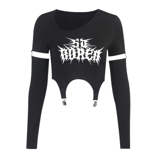 Bored Black Grunge Core Split Sleeve Top 6- Orezoria Aesthetic Outfits Shop - Aesthetic Clothing - eGirl Outfits - Soft Girl Outfits
