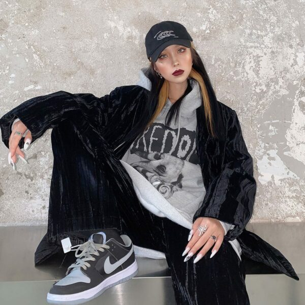 Boredom Dark Core Oversized Hoodie.1- Orezoria Aesthetic Outfits Shop - Aesthetic Clothing - eGirl Outfits - Soft Girl Outfits