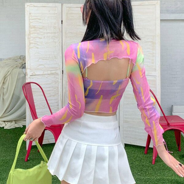 Bright Mesh Crop Top Rave Aesthetic 2 - Orezoria Aesthetic Outfits Shop - Aesthetic Clothing - eGirl Outfits - Soft Girl Outfits.psd