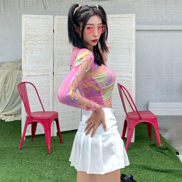 Bright Mesh Crop Top Rave Aesthetic 3 - Orezoria Aesthetic Outfits Shop - Aesthetic Clothing - eGirl Outfits - Soft Girl Outfits.psd