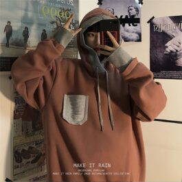 Brown Hong Kong Style Hoodie 3- Orezoria Aesthetic Outfits Shop - Aesthetic Clothing - eGirl Outfits - Soft Girl Outfits
