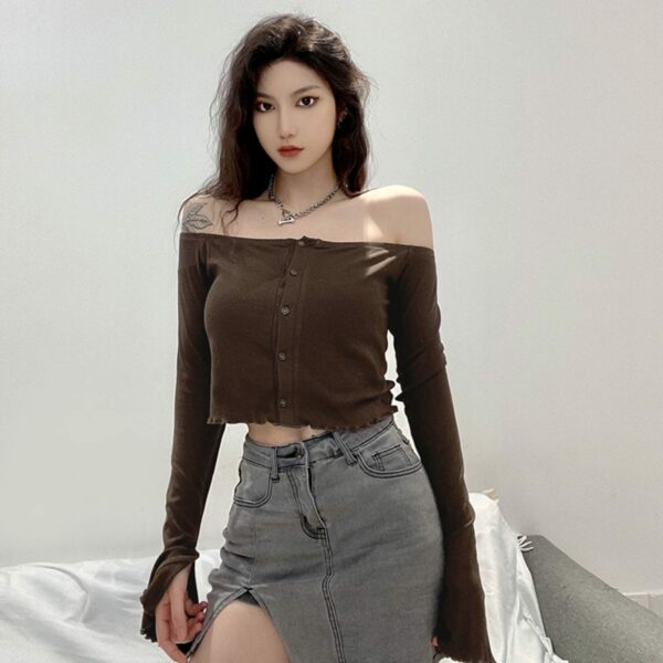 Brown Open Shoulder Long Sleeve 1- Orezoria Aesthetic Outfits Shop - Aesthetic Clothing - eGirl Outfits - Soft Girl Outfits