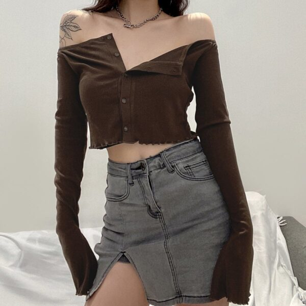 Brown Open Shoulder Long Sleeve 2- Orezoria Aesthetic Outfits Shop - Aesthetic Clothing - eGirl Outfits - Soft Girl Outfits