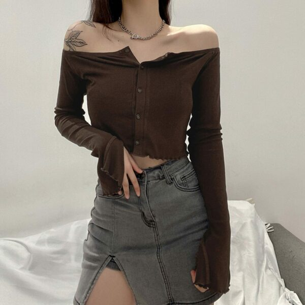 Brown Open Shoulder Long Sleeve 3- Orezoria Aesthetic Outfits Shop - Aesthetic Clothing - eGirl Outfits - Soft Girl Outfits