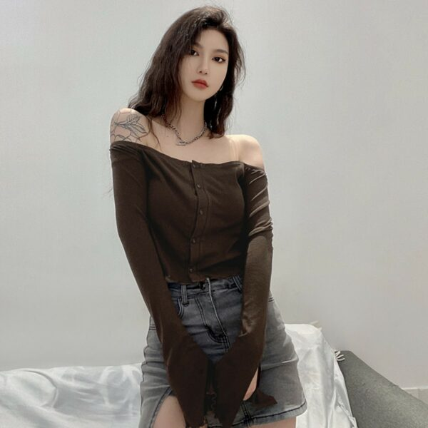 Brown Open Shoulder Long Sleeve 4- Orezoria Aesthetic Outfits Shop - Aesthetic Clothing - eGirl Outfits - Soft Girl Outfits
