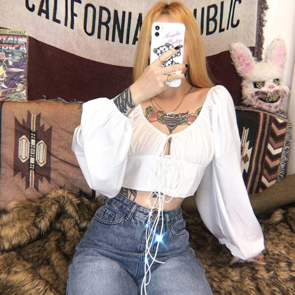 Bubble Sleeve Cottagecore Cropped Top 1 - Orezoria Aesthetic Outfits Shop - Aesthetic Clothing - eGirl Outfits - Soft Girl Outfits.psd
