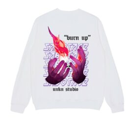 Burn Up Flame Hands Sweatshirt- Orezoria Aesthetic Outfits Shop - Aesthetic Clothing - eGirl Outfits - Soft Girl Outfits.psd