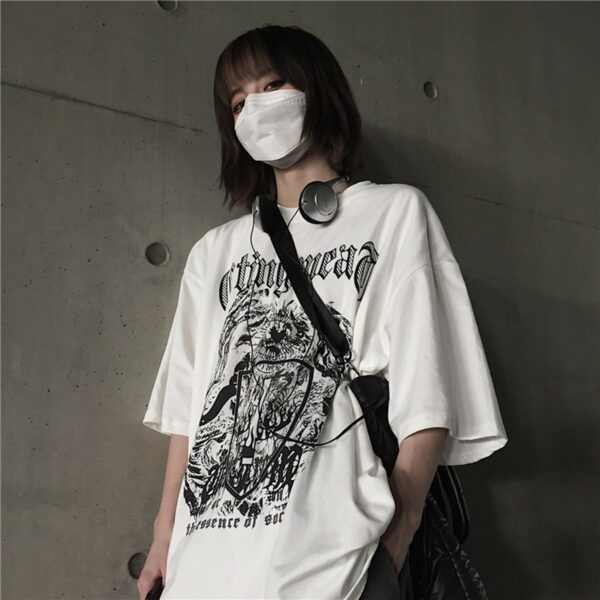 Burning Cross Shield Loose T-Shirt 1- Orezoria Aesthetic Outfits Shop - Aesthetic Clothing - eGirl Outfits - Soft Girl Outfits.psd