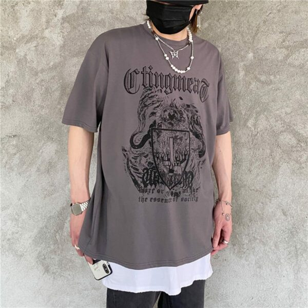 Burning Cross Shield Loose T-Shirt 3 - Orezoria Aesthetic Outfits Shop - Aesthetic Clothing - eGirl Outfits - Soft Girl Outfits.psd