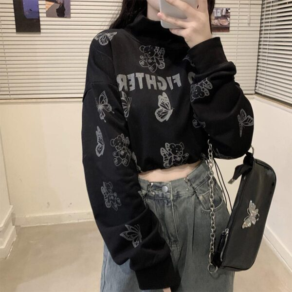 Butterflies Zero Fighter Sweatshirt - Orezoria Aesthetic Outfits Shop - Aesthetic Clothing - eGirl Outfits - Soft Girl Outfits.psd