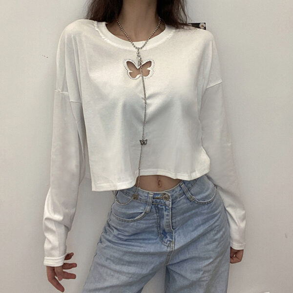 Butterfly Cut Neck Chain Long Sleeve Top.1- Orezoria Aesthetic Outfits Shop - Aesthetic Clothing - eGirl Outfits - Soft Girl Outfits