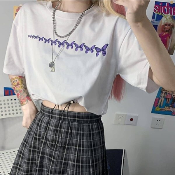 Butterfly Delay Past Aesthetic Crop Top - Orezoria Aesthetic Outfits Shop - Aesthetic Clothing - eGirl Outfits - Soft Girl Outfits.psd