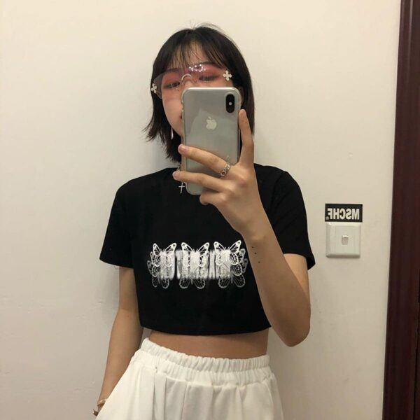 Butterfly Effect Black Aesthetic Crop Top - Orezoria Aesthetic Outfits Shop - Aesthetic Clothing - eGirl Outfits - Soft Girl (2)