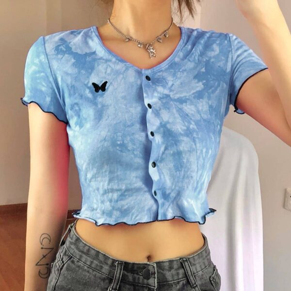 Butterfly Embroidery Tie Dye Crop Top 1 - Orezoria Aesthetic Outfits Shop - Aesthetic Clothing - eGirl Outfits - Soft Girl Outfits.psd