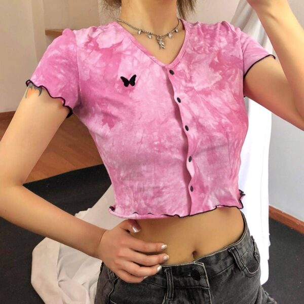 Butterfly Embroidery Tie Dye Crop Top 4 - Orezoria Aesthetic Outfits Shop - Aesthetic Clothing - eGirl Outfits - Soft Girl Outfits.psd