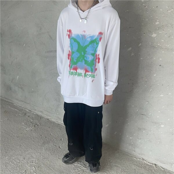 Butterfly Stencil Korean Loose Hoodie 1- Orezoria Aesthetic Outfits Shop - Aesthetic Clothing - eGirl Outfits - Soft Girl Outfits