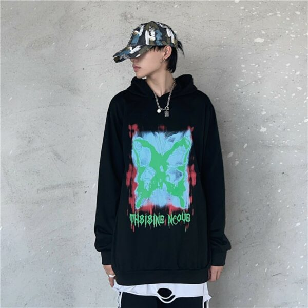 Butterfly Stencil Korean Loose Hoodie 3- Orezoria Aesthetic Outfits Shop - Aesthetic Clothing - eGirl Outfits - Soft Girl Outfits