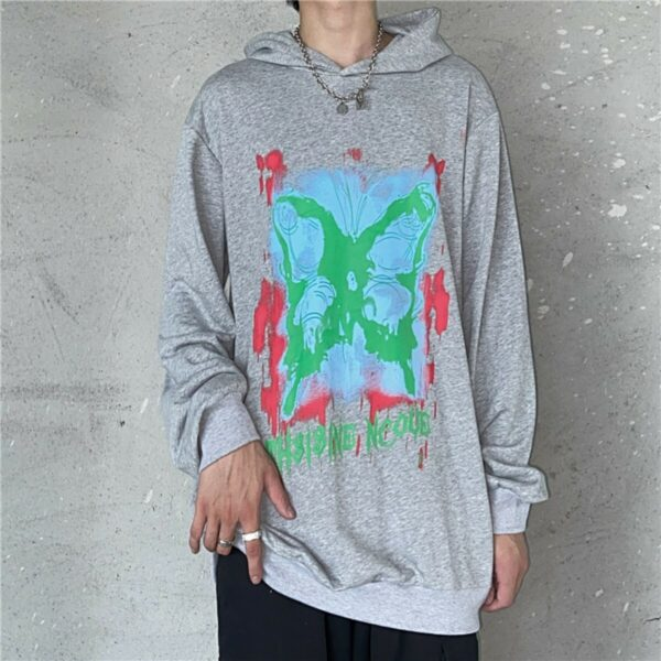 Butterfly Stencil Korean Loose Hoodie 4- Orezoria Aesthetic Outfits Shop - Aesthetic Clothing - eGirl Outfits - Soft Girl Outfits
