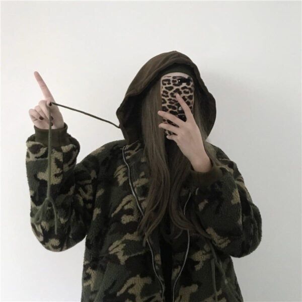 Camo Army Green Soft Plush Hoodie - Orezoria Aesthetic Outfits Shop - Aesthetic Clothing - eGirl Outfits - Soft Girl Outfits.psd