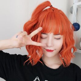 Carrot Red Curly Shoulder Long Aesthetic Wig (4)- Orezoria Aesthetic Outfits Shop - Aesthetic Clothing - eGirl Outfits - Soft Girl Outfits