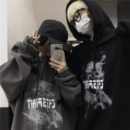 Cat Spirit Smoke Korean Grunge Hoodie - Orezoria Aesthetic Outfits Shop - Aesthetic Clothing - eGirl Outfits - Soft Girl Outfits.psd