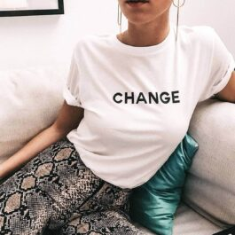 Change Letters Print Aesthetic T-Shirt (1)- Orezoria Aesthetic Outfits Shop - Aesthetic Clothing - eGirl Outfits - Soft Girl Outfits