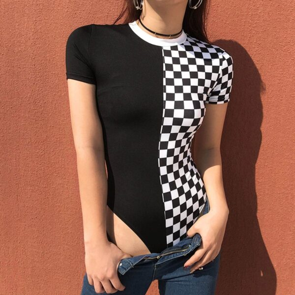 Checkerboard Split Black Bodysuit.1- Orezoria Aesthetic Outfits Shop - Aesthetic Clothing - eGirl Outfits - Soft Girl Outfits