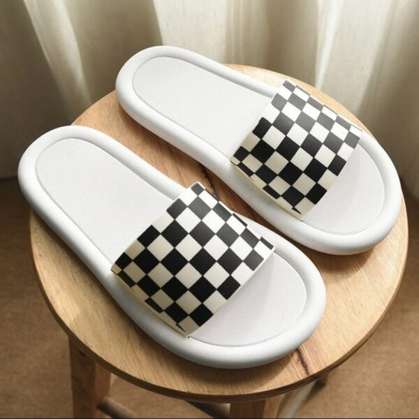 Checkered Grid Aesthetic Slides.1- Orezoria Aesthetic Outfits Shop - Aesthetic Clothing - eGirl Outfits - Soft Girl Outfits
