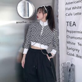 Checkered Grid Chains Cropped Sweatshirt - Orezoria Aesthetic Outfits Shop - Aesthetic Clothing - eGirl Outfits - Soft Girl