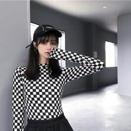 Checkered Grid Chess Core Long Sleeve - Orezoria Aesthetic Outfits Shop - Aesthetic Clothing - eGirl Outfits - Soft Girl Outfits.psd