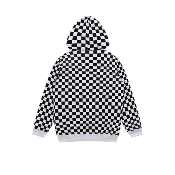 Checkered Grid Chess Core Loose Hoodie.1- Orezoria Aesthetic Outfits Shop - Aesthetic Clothing - eGirl Outfits - Soft Girl Outfits