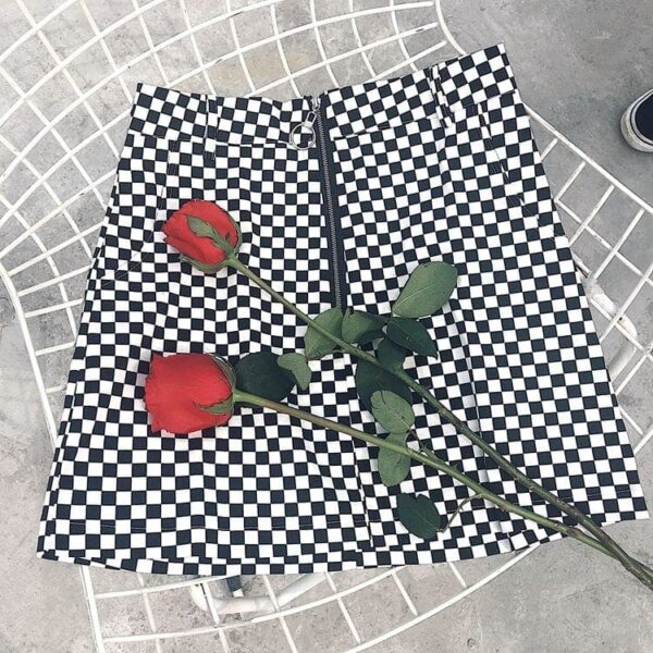 Checkered Grid Front Zip Grunge Skirt.5- Orezoria Aesthetic Outfits Shop - Aesthetic Clothing - eGirl Outfits - Soft Girl Outfits