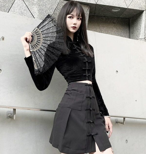 Cheongsam Qi Pao Long Sleeve Top 1- Orezoria Aesthetic Outfits Shop - Aesthetic Clothing - eGirl Outfits - Soft Girl Outfits