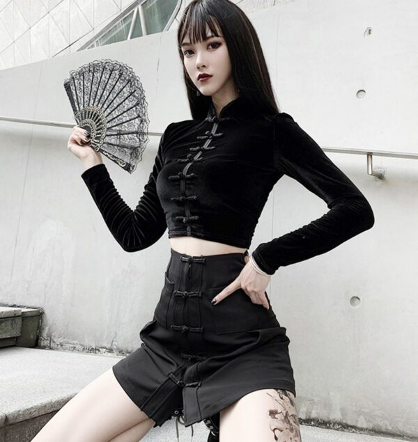 Cheongsam Qi Pao Long Sleeve Top 3- Orezoria Aesthetic Outfits Shop - Aesthetic Clothing - eGirl Outfits - Soft Girl Outfits
