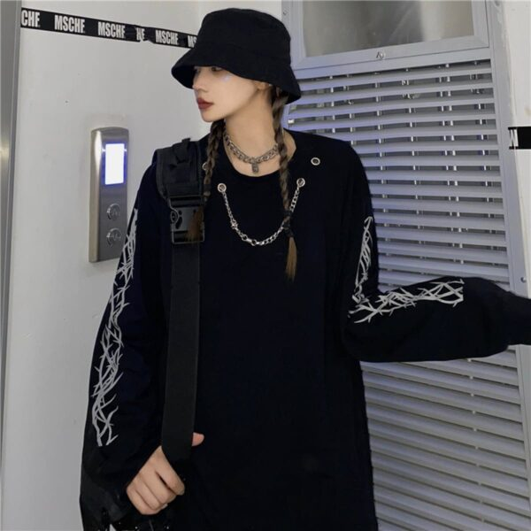 Chest Chain Thorns Grunge Long Sleeve 1- Orezoria Aesthetic Outfits Shop - Aesthetic Clothing - eGirl Outfits - Soft Girl Outfits